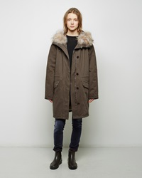 Army By Yves Saloman Coyote Fur Lined Cotton Parka Natural