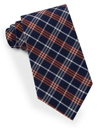 Lord And Taylor Plaid Striped Tie Orange