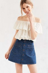 Objects Without Meaning For Uo Denim Button Down Mini Skirt Indigo