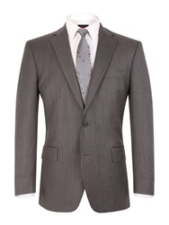 Pierre Cardin Stripe Notch Collar Classic Fit Suit Jacket Grey