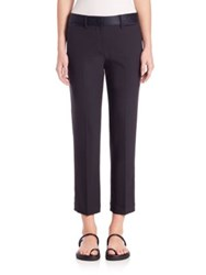 Helmut Lang Satin Trimmed Stretch Wool Ankle Pants Navy