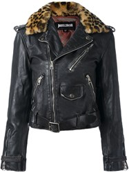Just Cavalli Leopard Trim Biker Jacket Black