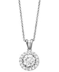 B. Brilliant Sterling Silver Necklace Cubic Zirconia Round Pave Pendant 2 1 2 Ct. T.W.