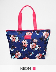 Seafolly Hula Floral Bag In Cotton Canvas Frenchblue