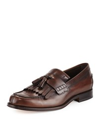 Tod's Kiltie Leather Tassel Loafer Brown