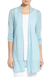 Women's Eileen Fisher Organic Linen Blend Straight Cut Long Cardigan Windflower