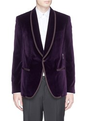 Dolce And Gabbana Shawl Lapel Velvet Tuxedo Blazer Purple