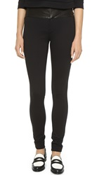 Alice Olivia Leather Combo Leggings Black