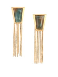 Stephanie Kantis Impose Green Moss Agate Chain Fringe Earrings Gold Green