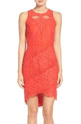 Adelyn Rae Women's Lace High Low Sheath Dress Red