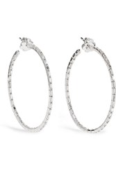 Suzanne Kalan 18 Karat White Gold Diamond Hoop Earrings