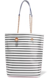 Sophia Webster Izzy Leather Trimmed Striped Pvc Tote White
