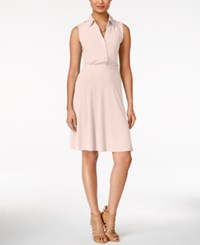 Ny Collection Sleeveless Utility Shirtdress Only At Macy's Pale Blush