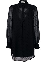 See By Chloe Polka Dot Sheer Tunic Black