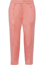 Tibi Cropped Satin Tapered Pants Pink