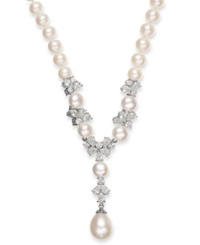 Arabella Cultured Freshwater Pearl 7 12Mm And Swarovski Zirconia Y Shaped Necklace In Sterling Silver White