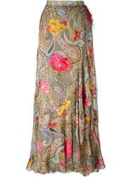 Etro Paisley Print Ruffled Hem Full Maxi Skirt Nude And Neutrals