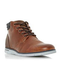 Dune Cane Wedge Sole Leather Lace Up Boots Tan