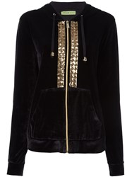Versace Jeans Sequin Embroidered Velour Hoodie Black