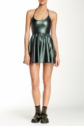 American Apparel Shiny Figure Skater Dress Green