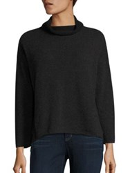 Eileen Fisher Cashmere And Wool Funnelneck Sweater Charcoal