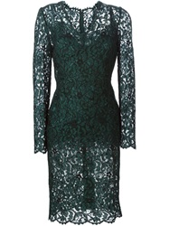 Dolce And Gabbana Floral Lace Midi Dress Green