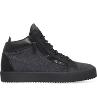 Giuseppe Zanotti Mid Top Leather And Flannel Trainers Grey