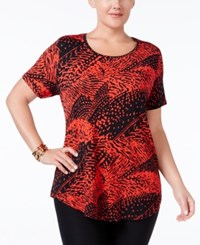 Jm Collection Plus Size Printed Scoop Neck Top Only At Macy's Red Text Waves