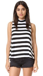 Splendid Rugby Stripe Swing Sleeveless Turtleneck White Black