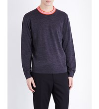 Paul Smith Ps By Contrast Neck Wool Blend Jumper Elephant