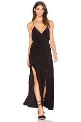 Misa Los Angeles Nola Double Slit Maxi Dress Black