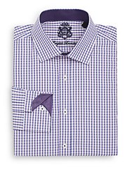 English Laundry Regular Fit Windowpane Check Dress Shirt Purple