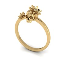 Antoanetta 14K Yellow Gold Skull Ring With Flowers6