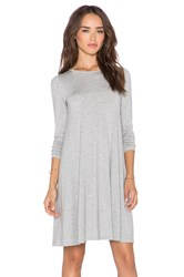 Blq Basiq Long Sleeve Swing Dress Gray