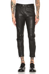 Ann Demeulemeester Leather Trousers In Black
