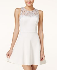 Trixxi Juniors' Applique Fit And Flare Dress Silver Ivory