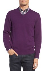 Nordstrom Men's Big And Tall Men's Shop Cashmere V Neck Sweater Purple Vine