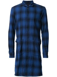 Attachment Long Plaid Coat Blue