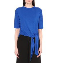 Whistles Tie Front Stretch Knit Top Blue