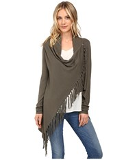 Christin Michaels Evelyn Fringed Wrap Cardigan Vintage Elm Women's Sweater Olive