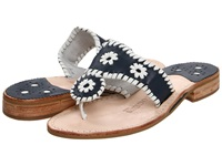 Jack Rogers Palm Beach Navajo Flat Navy White Women's Sandals Blue