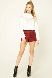 Forever 21 Contemporary Crochet Lace Top Ivory