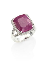 John Hardy Classic Chain Diamond Ruby And Sterling Silver Ring