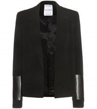 Anthony Vaccarello Leather Trimmed Jacket Black