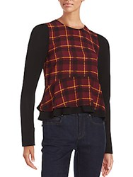 Romeo And Juliet Couture Ruffled Plaid Top Wine Combo