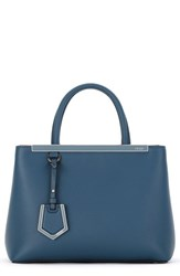 Fendi 'Petite 2Jours' Leather Shopper Blue Peacock Blue