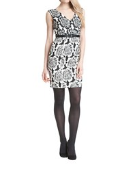 Plenty By Tracy Reese Floral Belted Sheath Dress Ivory Black
