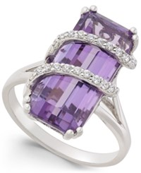 Macy's Amethyst 6 Ct. T.W. And Cubic Zirconia Drama Ring In Sterling Silver