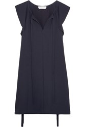 Chloe Flutter Sleeve Cady Mini Dress Navy