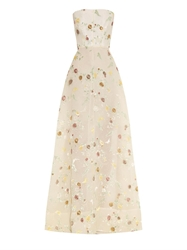 Rochas Floral Flocked Organza Gown